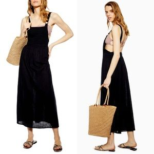 Topshop smocked shirred oversized midi dress black